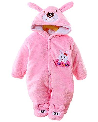 Minetom Herbst Winter Verdickte Overalls Baby Mädchen Jungen Overall Cartoon Coral Fleece Kinderkleidung Warm Einteiler Spieler Hase Rosa 73cm (Hündchen Kostüm Für Kleinkinder)