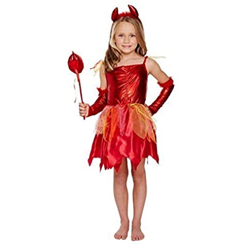 The Harlequin Brand - Disfraz de diablo para niña (talla mediana, 7-9 años)