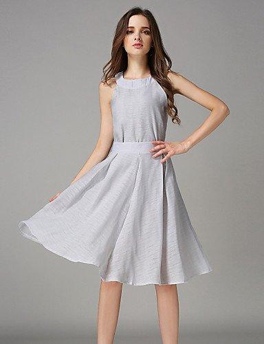 PU&PU Robe Aux femmes Swing Vintage,Couleur Pleine Licou Mi-long Polyester GRAY-M