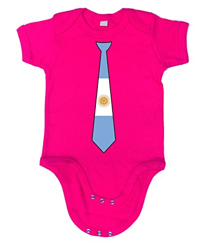 Artdiktat Baby Organic Bodysuit   Strampler   Argentinien Argentina   Krawatte Tie   Wm Weltmeisterschaft 2018 Russia Russland Größe 60/66, Fuchsia (Adidas-argentinien-weltmeisterschaft)