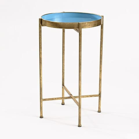 InnerSpace Luxury Products Small Gild Pop Up Tray Table - Metal, Blue