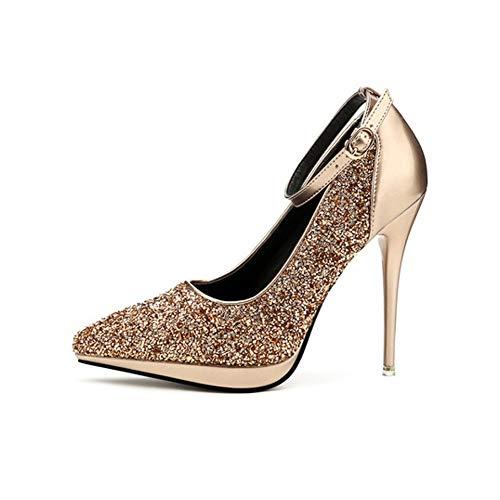 TYD.L High Heels 228-3 Hochwertige Materialien Frauen Mode Elegant Sexy Pailletten Schuhe Anziehen Pumpen Einzelne Schuhe Stöckelschuhe 11,5 cm 5 Farben (Farbe : Gold, größe : EU35/UK3/CN34) - 3 Heel-schuhe