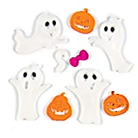 TRIXES Ghost and Pumpkin Halloween Glass Window Decorations - Gel Clings