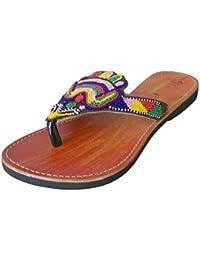 kalra Creations Mujer Piel De Terciopelo tradicional indio Zapatillas de novio, color Azul, talla 41 EU