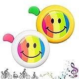 CUKCIC Campanello da Bicicletta per Bambino Bicicletta Corno per Ragazzo Ragazza Clear Sound Arcobaleno Sorriso 2pezzi (Bianco-Rosso; Giallo-Verde)