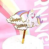 Infispace® Kid's Theme Based Golden Acrylic Cake Topper -Rainbow Unicorn