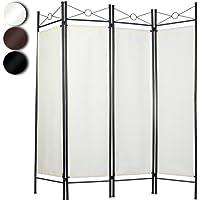 MIADOMODO 4-Fach Raumteiler Faltbare Trennwand Paravent spanische Wand Sichtschutz in Weiß