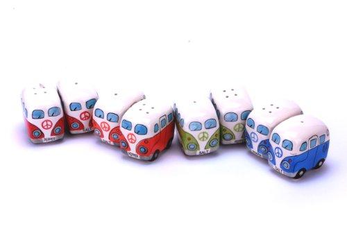 Camper Bus Salzstreuer/ Pfefferstreuer - aus Keramik, farbe wählbar, im 2er Set. (Blau-Grün)