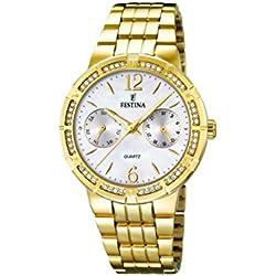University Sports Press F16701/1 - Reloj de cuarzo para mujer, con correa de acero inoxidable chapado, color dorado