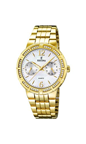 Festina Women's Quartz Watch with Mother of Pearl Dial Analogue Display and Gold Stainless Steel Plated Bracelet F16701/1