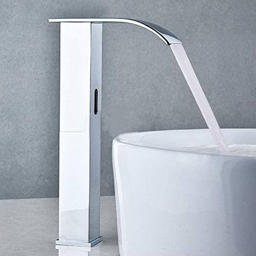 """Boquite Automatische Infrarot Sensor Wasserhahn, Wasserfall Induktive Kupfer Wasserhahn Touchless Becken Wasserhahn für Bad Küchenspüle G1/2"""""""