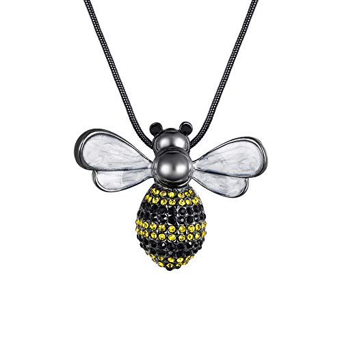 Liebhaber Adult Sweatshirt (Ever Faith österreichisch Kristall Emaille Cute Biene Insekt Pendant Sweater Halskette lang Chain gelb schwarz-Ton)