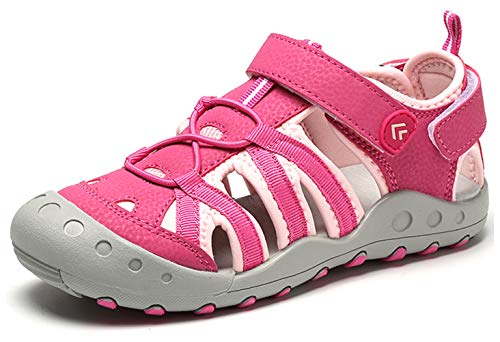 Geschlossene Sandalen Mädchen mit Klettverschluss Outdoor Sport Wander Trekkingsandalen Kinder Sommer rutschfest Atmungsaktiv Strand Schuhe Pink Gr.27