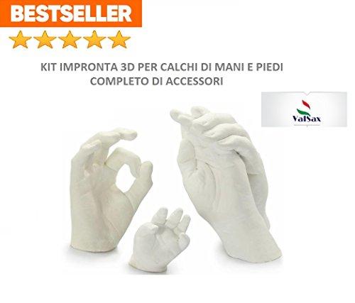 Kit per impronte 3D completo di accessori per stampi di mani piedi ed altro ancora, 453g alginato alginsax slow + 1kg gesso ceramico alta qualità + omaggio