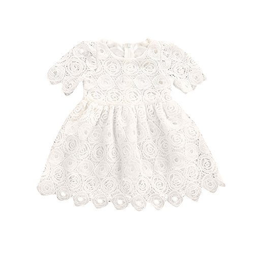Kinderkleid Honestyi Kleinkind Säuglingsbaby Blumenspitze Kurzschluss Hülsen Prinzessin Formal Dress Outfits (Weiß,100)