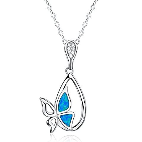 925 Sterling Silver - Synthetic Blue Fire Opal - Butterfly Pendant Necklace For Women - (Bella Naturale Ciondolo Pendente Giada)