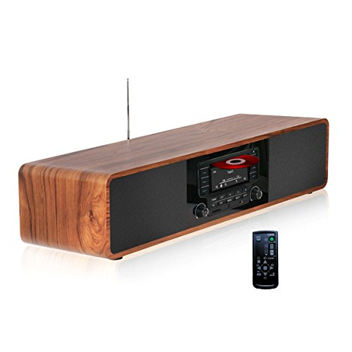 KEiiD Kompaktanlage CD / MP3-Player Stereo-Holz-Desktop-Bluetooth-HiFi Tragbare Boombox Home Audio-Komponente Musik-Regal-System mit FM Radio Digital Tuner Fernbedienung USB SD AUX, Soundbar