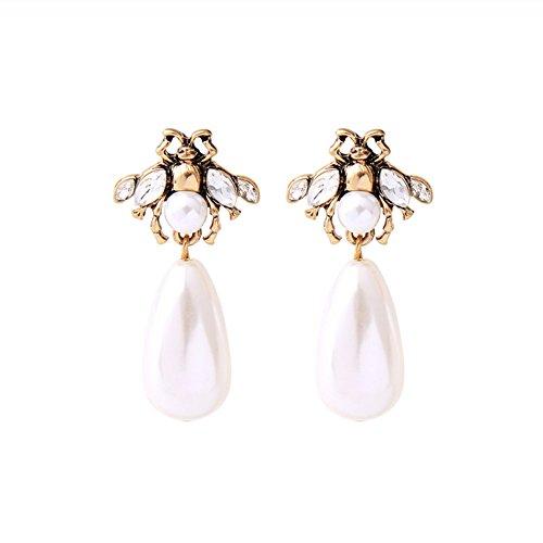 Kostüm Mädchen Perlenohrring - Hosaire 1 Paar Vintage Diamant Biene Ohrstecker Ohrringe Kreative Legierung Perle Ohrring Anhänger Ohrstecker Damen Mädchen Schmuck Geschenk Silber