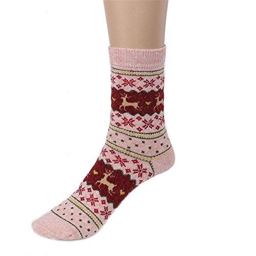 Zolimx Weihnachten Herren-Frauen Cute Christmas Deer Design Warme Winter Lässige Strickwolle Socken