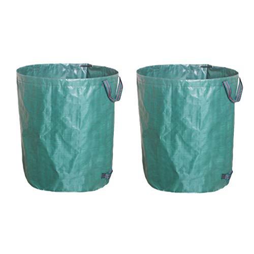 Mingdoo Gartensack für Grünabfälle Wasserdicht Reißfest Laubsack Kompostierbare Müllbeutel - Grün #2stück, 272L (D67*H76cm)