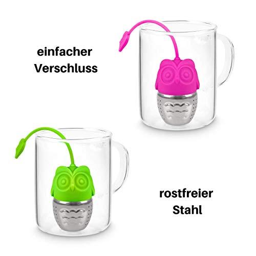 """Buntfink """"TeaBalls"""" Teesieb aus Edelstahl und Silikon, Tee-Ei lang, Teefilter Set für Tasse, Teekugeln für losen Tee in Pink und Grün (2er-Set)"""