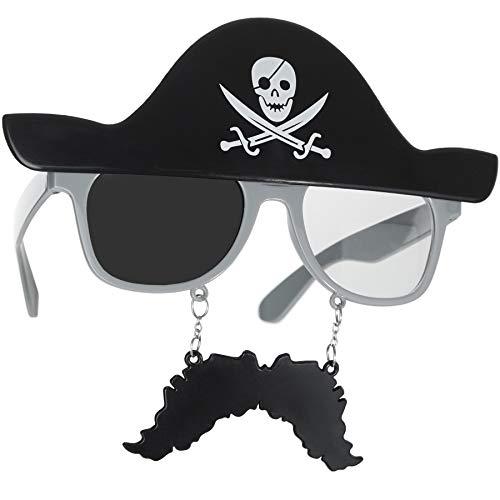 Pet Piraten Kostüm - dressforfun 302782 - Spaßbrille Pirat mit Schnurrbart, Abbildung eines Piratenhuts mit Totenkopf und Säbeln