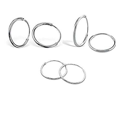 Silverline Jewelry 3 Pairs set of Sterling Silver Hinged Sleeper endless Hoop Earrings includes 8, 10 & 12mm