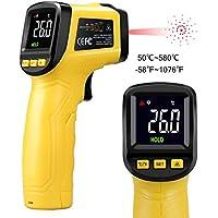 URCERI Termómetro Infrarrojo Digital Láser IR, con probador de humedad, alta precisión ±0.1°C, rango -50℃~580℃(-58 ℉ a 1076 ℉) pistola de temperatura con pantalla a color