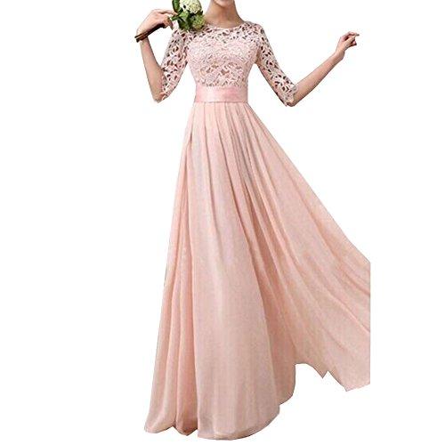 Uranus Damen Spitzen Spleiß Chiffon Cocktail Formell Maxikleid Brautjungfer Hochzeitskleider Rosa