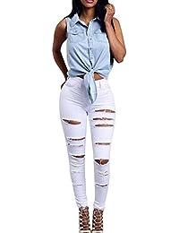59fbb3695d34 Elasticizzati Da Donna Strappati Jeans Taglio Straigh Pantaloni Skinny Mode  Distrutto Patchato