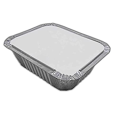 100 x No2 Catering Aluminium Foil Food Container Take Away Box + Lids