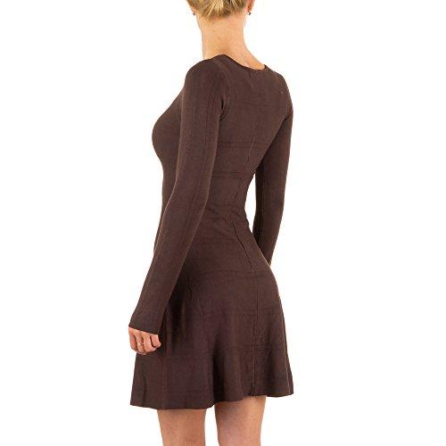 Damen Kleid, ELASTISCHES STRICK, KL-C426 Braun