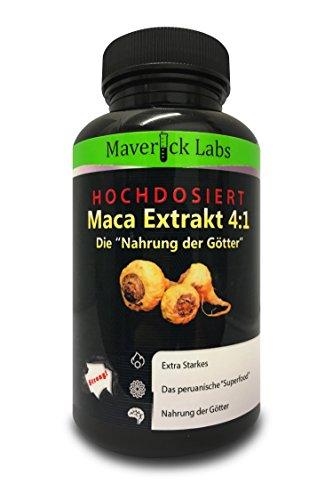 """Bio-Maca Extra Stark als 4:1 Extrakt (Kapseln). Die """"Nahrung der Götter"""" verbessert Wohlbefinden, Vitalität und Antrieb – Vegetarier-geeignet – 90 Kapseln"""