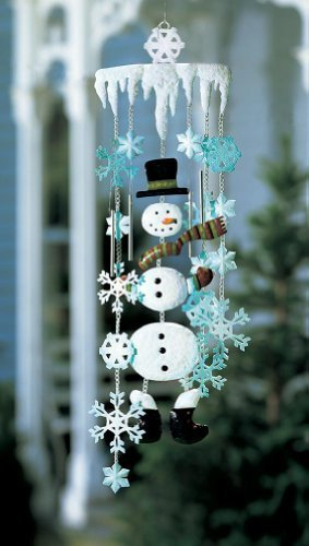 Winter Snowman Holiday Garden Wind Chimes by Collections Etc