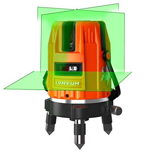 Nivel Láser Verde con Autonivelación, LOMVUM Nivelador Autonivelante cruzado de 40m, Láser de líneas automática 110°horizontal/vertical,un soporte magnético (5 líneas)