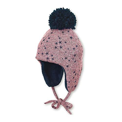 Sterntaler Inka-Mütze für Mädchen mit Bommel und Bindebändern, Gefüttert, Alter: 3-4 Monate, Größe: 39, Helllila/Blau -