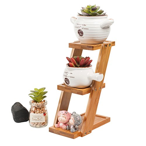 JAGETRADE 3-Tier Square Bamboo Tray Stand Succulent Cactus Flower Plant Pot Planter Holder Square Pot Holder