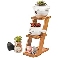Dabixx 3 Tier Square Bamboo Tray Stand Suculent Cactus Flower Flower Pot Maceta