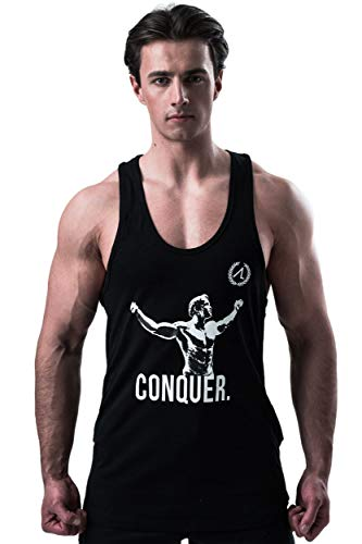 AESTHETIC LEGACY Premium Arnold - Conquer Stringer | Slim-Fit Herren Tank-Top | perfekt für Bodybuilding, Fitness-Training, Sport, Workout & Gym (Stringer, M)