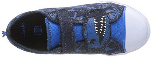Clarks Tricer Roar, Baskets mode garçon Bleu (Navy Canvas)