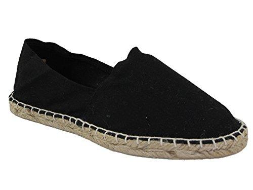 Mens Canvas Clearance Espadrilles Slip On Casual Pumps Plimsoll Deck Shoes Size 6-12 (UK 9/EU 43, Black)