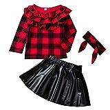 DaMohony barn nyfödda baby flickor kjol outfit pläd topp skjorta + läderkjol + pannband 3 st barnkläder set i 1-6 år
