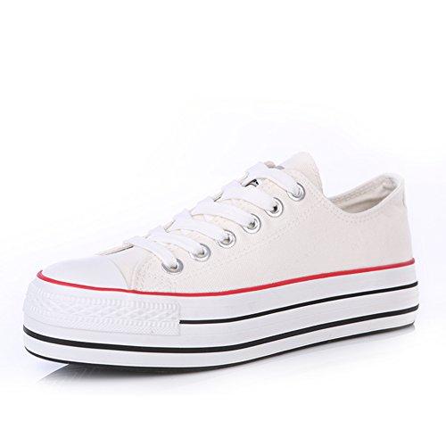 scarpe di tela donne Classic/scarpe casual/Solid scarpe piattaforma fondo pesante/Scarpe bianche studenti marea-A Lunghezza (Grigio Suede Piattaforma)