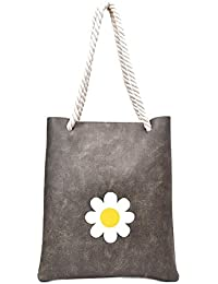 Zibuyu Women Floral Printed Fashion Handbag Rope Shoulder Bag Shopping Bag(Grey)