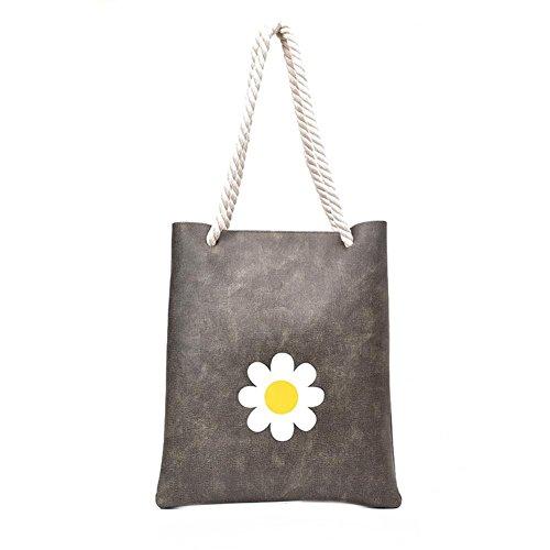 Zibuyu Women Floral Printed Fashion Handbag Rope Shoulder Bag Shopping Bag(Grey)