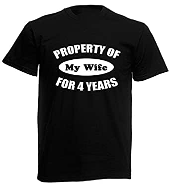 Property Of My Wife For 4 Years - Mens 4th Wedding Anniversary Gift T-Shirt (Small, Black)