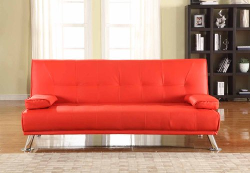 large stunning italian designer faux leather 3 seater sofa bed futon in red