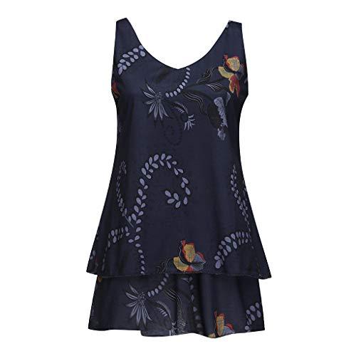 Kviklo Damen Plus Size Leibchen Blumendruck Layred Ärmellos Tunika Slouch Loose Mini Dress Oversize(3XL(42),Dunkelblau)
