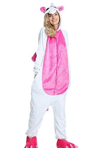 VineCrown Damen Schlafanzug Einhorn Pyjamas Tier Overall Karikatur Neuheit Jumpsuit Kostüme für Erwachsene Kinder Weihnachten Karneval Cosplay Strampelanzug (XL, Rose)
