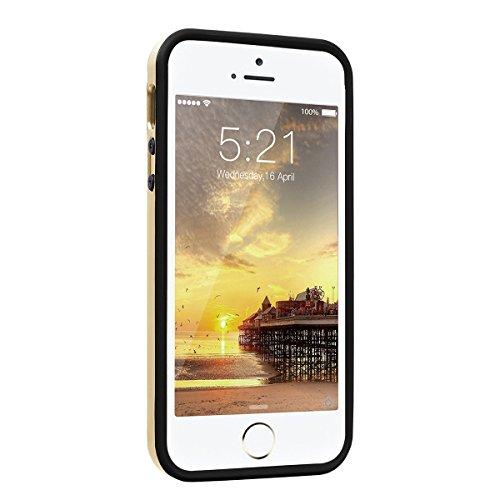 HB-Int Hybrid Hülle für iPhone 6 / 6S Silikon Bumper Schutzhülle + Hart PC Prisma Back Handytasche Schutz Stoßfest Etui - Rot Gold